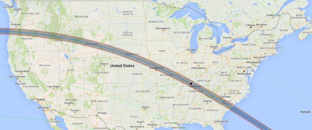 Image of the solar eclipse path in the united states